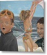 Beach - Children Playing - Kite Metal Print