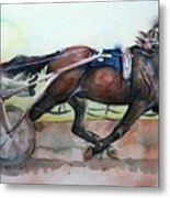 Racehorse Painting In Watercolor Let's Roll Metal Print