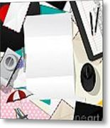 Letter Collage Abstract Metal Print