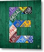Letter E Alphabet Vintage License Plate Art Metal Print