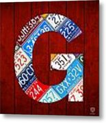 Letter G Alphabet Vintage License Plate Art Metal Print