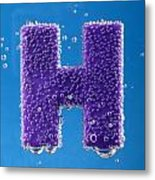 letter H underwater with bubbles  Metal Print