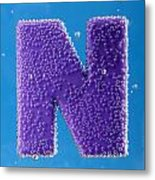 letter N underwater with bubbles  Metal Print