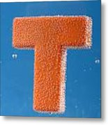 letter T underwater with bubbles Metal Print