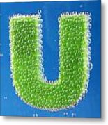 letter U underwater with bubbles Metal Print