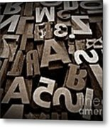 Letters And Numbers Sepia 2 Metal Print