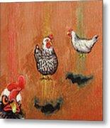 Levitating Chickens Metal Print