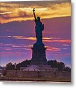 Liberty Statue Silhouette Sunset Metal Print