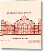 Library Of Congress Design 1877 Metal Print by Mountain Dreams