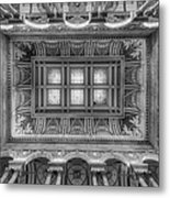 Library Of Congress Main Hall Ceiling Bw Metal Print