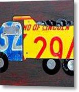License Plate Art Dump Truck Metal Print