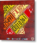 License Plate Map Of Arkansas By Design Turnpike Metal Print by Design Turnpike
