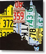 License Plate Map Of Australia Metal Print