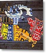 License Plate Map Of Canada Metal Print