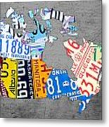 License Plate Map Of Canada On Gray Metal Print