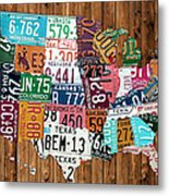 License Plate Map Of The United States - Warm Colors On Pine Board Metal Print by Design Turnpike
