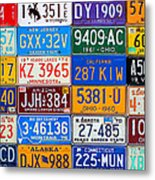 License Plates Of The Usa - Our Colorful American History Metal Print