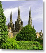 Lichfield Cathedral From The Garden Metal Print
