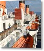 Life Boats 01 Queen Mary Ocean Liner Port Long Beach Ca Metal Print