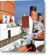 Life Boats 02 Queen Mary Ocean Liner Port Long Beach Ca Metal Print