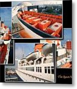 Life Boats Collage Queen Mary Ocean Liner Long Beach Ca Metal Print