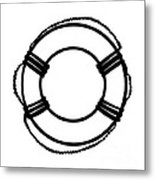 Life Preserver In Black And White Metal Print