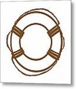 Life Preserver In Brown And White Metal Print