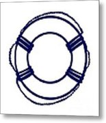 Life Preserver In Navy Blue And White Metal Print