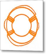 Life Preserver In Orange And White Metal Print
