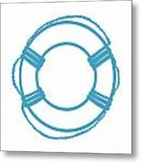 Life Preserver In Turquoise And White Metal Print