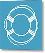 Life Preserver In White And Turquoise Blue Metal Print