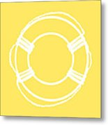 Life Preserver In White And Yellow Metal Print
