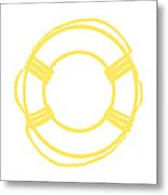 Life Preserver In Yellow And Whtie Metal Print