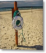 Life Preserver On The Beach In Pentwater Michigan Metal Print