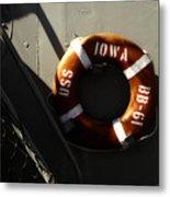 Life Ring Uss Iowa Battleship Sepia Metal Print