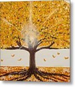 Life Tree-lit Autumn Tree With Yellow Leaves Metal Print