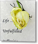 Life Unfulfilled Is Tragic Metal Print