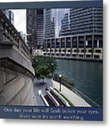 Life Will Flash Before Your Eyes Blue Background Metal Print