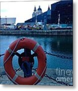 Lifebelt At Albert Dock Metal Print