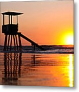Lifeguard Stand In A Texas Sunrise Metal Print