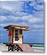 Lifeguard Station In Hollywood Florida Metal Print by Terry Rowe