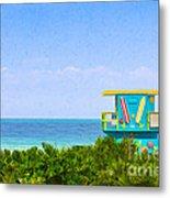 Lifeguard Station In Miami Metal Print