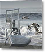 Lifeguard Station With Flying Gulls At A Lake Huron Beach Metal Print
