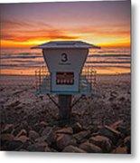 Lifeguard Tower At Dusk Metal Print