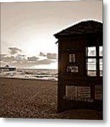 Lifeguard Tower Sunrise In Sepia Metal Print