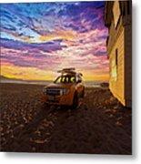 Lifeguard Tower Sunset Metal Print