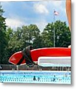 Lifeguard Watches Swimmers Metal Print
