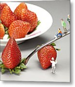 Lifting Strawberry By A Fork Lever Food Physics Metal Print