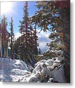 Sunburst Banff Mountain Top Calgary Canada. Metal Print