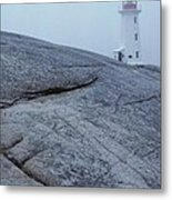Light House At Peggys Cove Nova Scotia Metal Print
